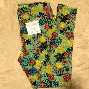 Lularoe leggings green flower stars size TC new